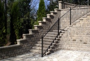 Stone Staircase with Handrails